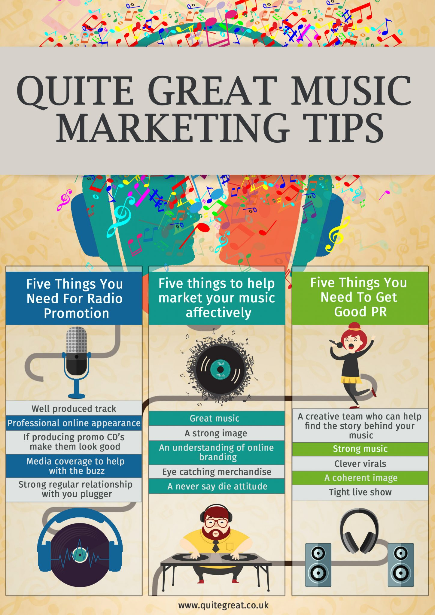 music pr marketing tips infographic
